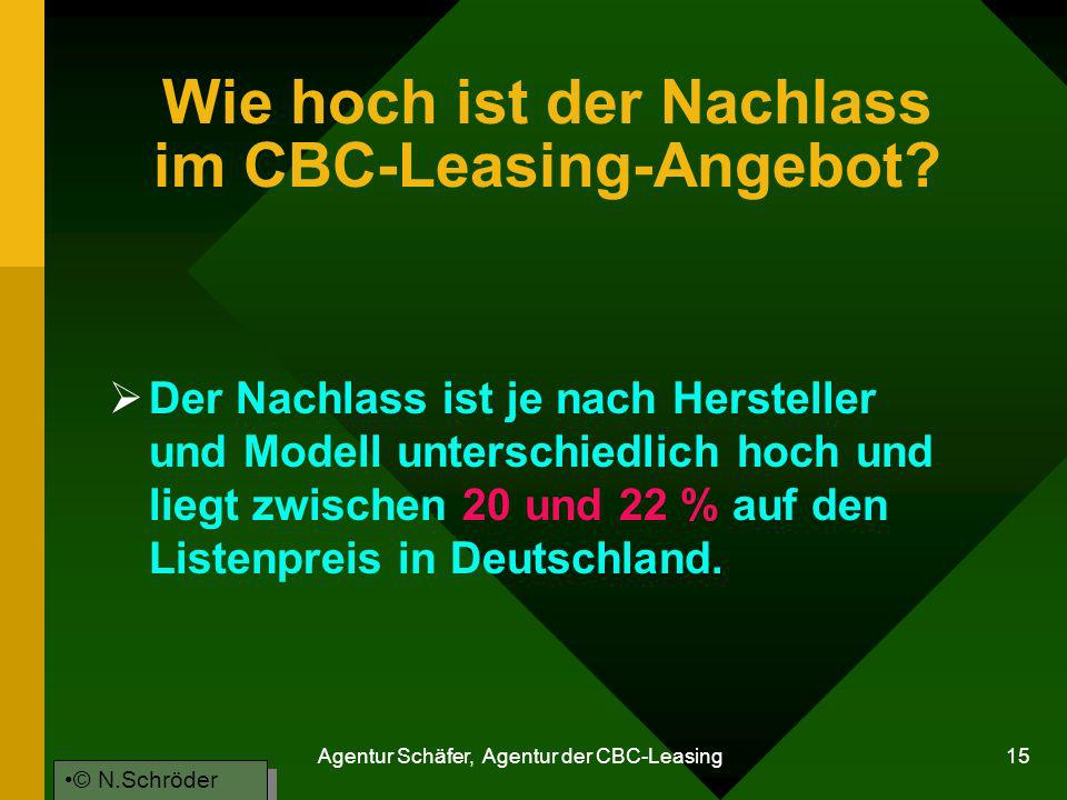 Wie hoch ist der Nachlass im CBC-Leasing-Angebot