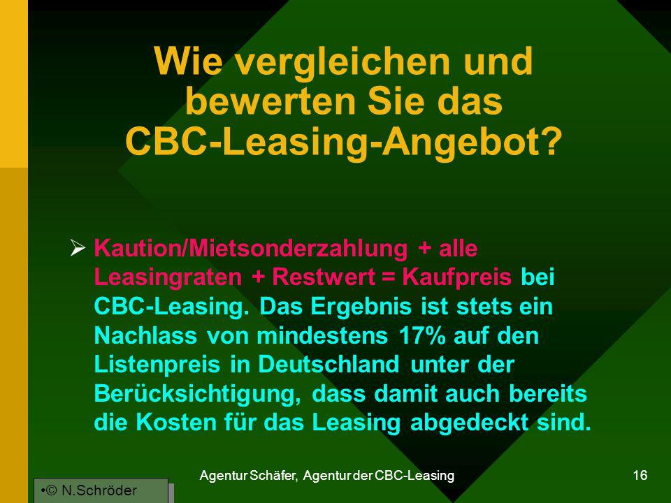 Wie vergleichen und bewerten Sie das CBC-Leasing-Angebot