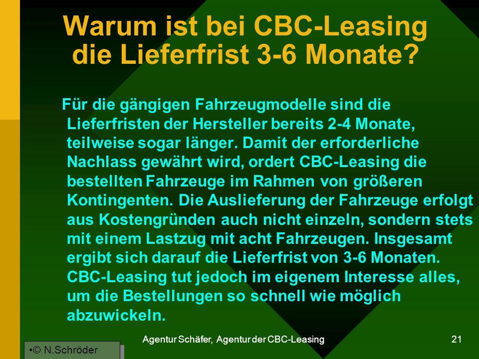 Warum ist bei CBC-Leasing die Lieferfrist 3-6 Monate