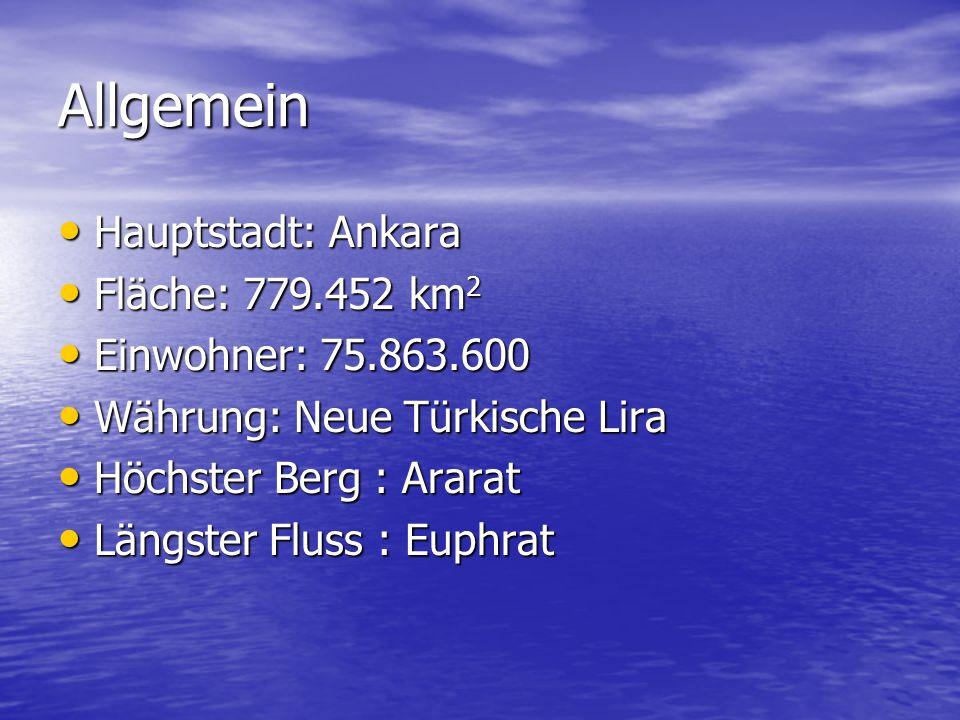 Allgemein Hauptstadt: Ankara Fläche: 779.452 km2 Einwohner: 75.863.600