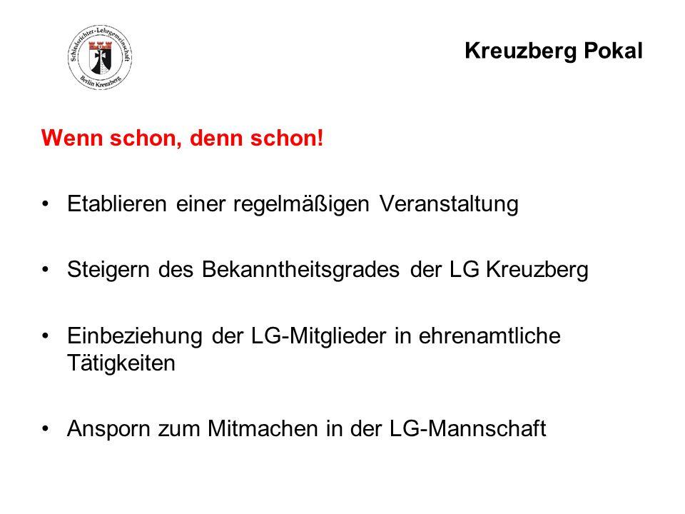 Kreuzberg Pokal Wenn schon, denn schon! Etablieren einer regelmäßigen Veranstaltung. Steigern des Bekanntheitsgrades der LG Kreuzberg.
