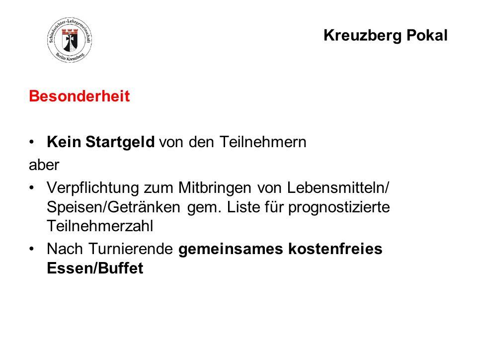 Kreuzberg Pokal Besonderheit. Kein Startgeld von den Teilnehmern. aber.