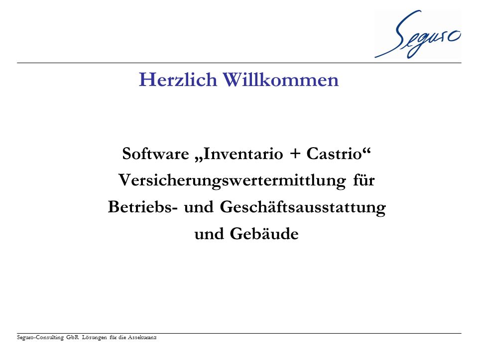 """Herzlich Willkommen Software """"Inventario + Castrio"""