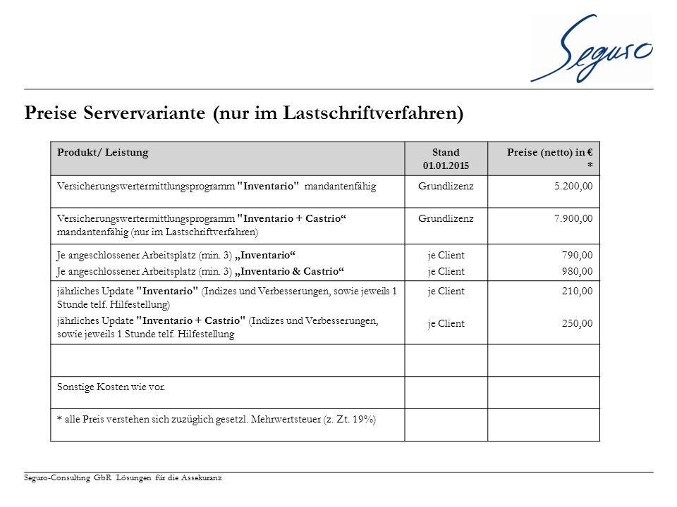 Preise Servervariante (nur im Lastschriftverfahren)