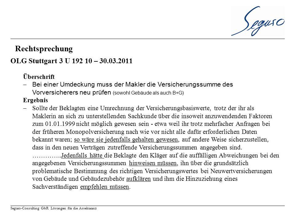 Rechtsprechung OLG Stuttgart 3 U 192 10 – 30.03.2011 Überschrift