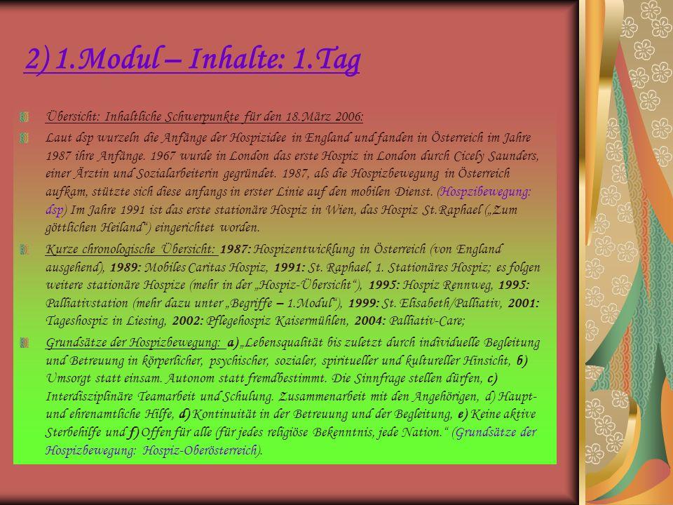 2) 1.Modul – Inhalte: 1.Tag Übersicht: Inhaltliche Schwerpunkte für den 18.März 2006:
