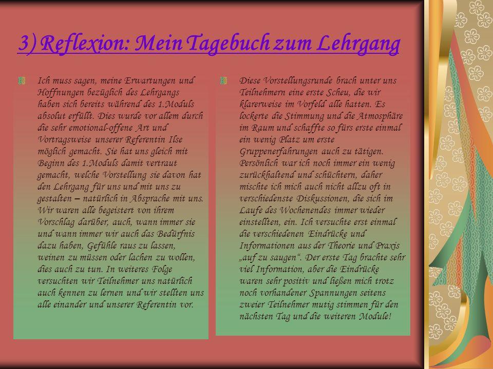 3) Reflexion: Mein Tagebuch zum Lehrgang