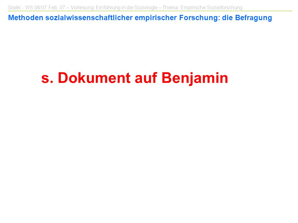 s. Dokument auf Benjamin