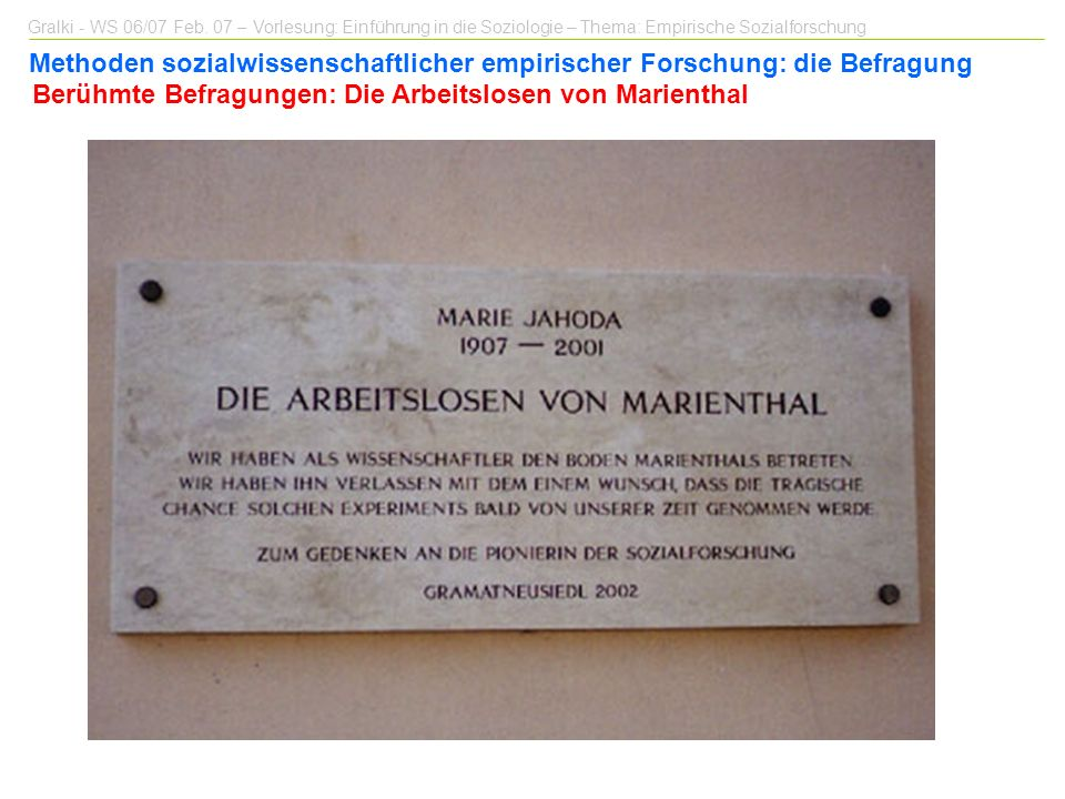 Berühmte Befragungen: Die Arbeitslosen von Marienthal