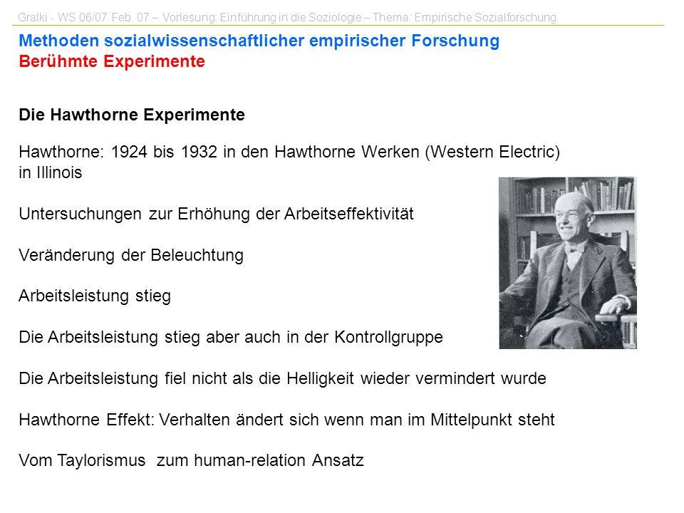 Die Hawthorne Experimente