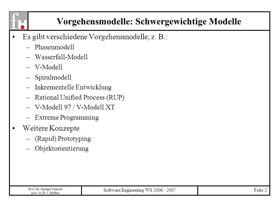 Vorgehensmodelle: Schwergewichtige Modelle
