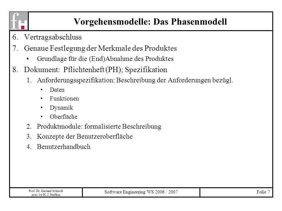 Vorgehensmodelle: Das Phasenmodell