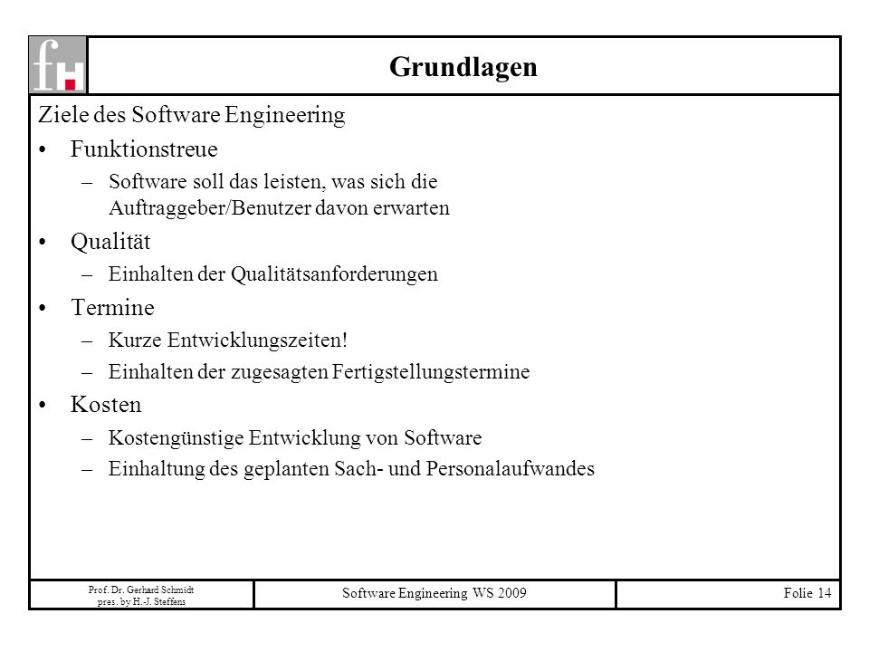 Software Engineering WS 2009