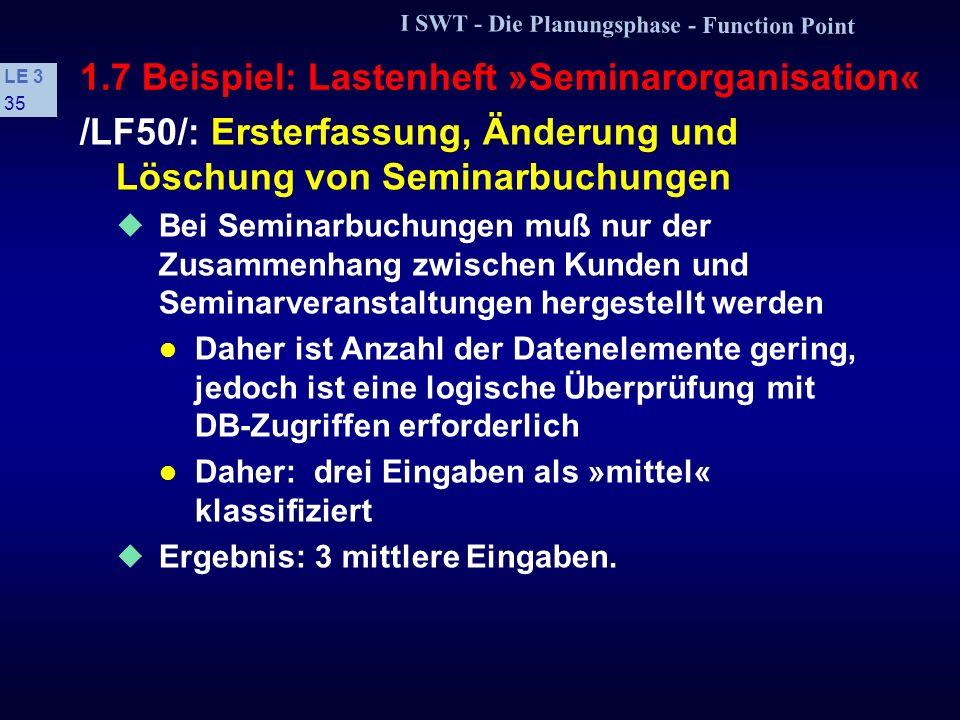1.7 Beispiel: Lastenheft »Seminarorganisation«