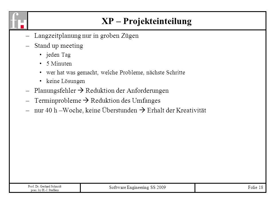 XP – Projekteinteilung