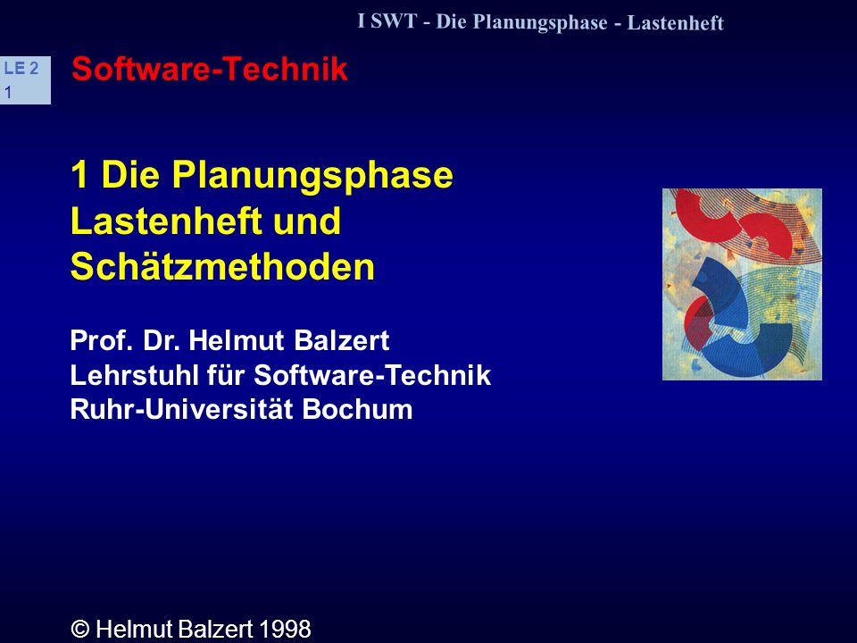 1 Die Planungsphase Lastenheft und Schätzmethoden Software-Technik