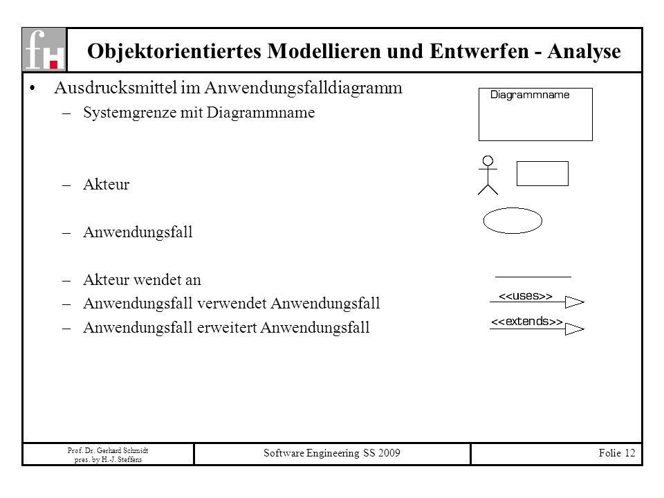 Objektorientiertes Modellieren und Entwerfen - Analyse