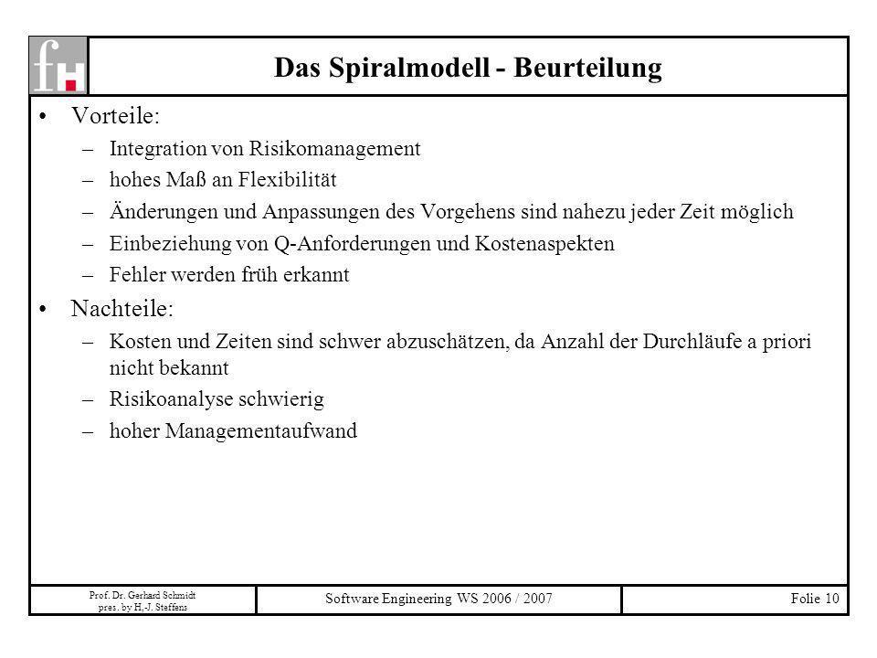 Das Spiralmodell - Beurteilung