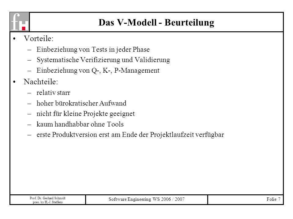 Das V-Modell - Beurteilung