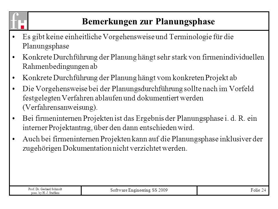 Bemerkungen zur Planungsphase