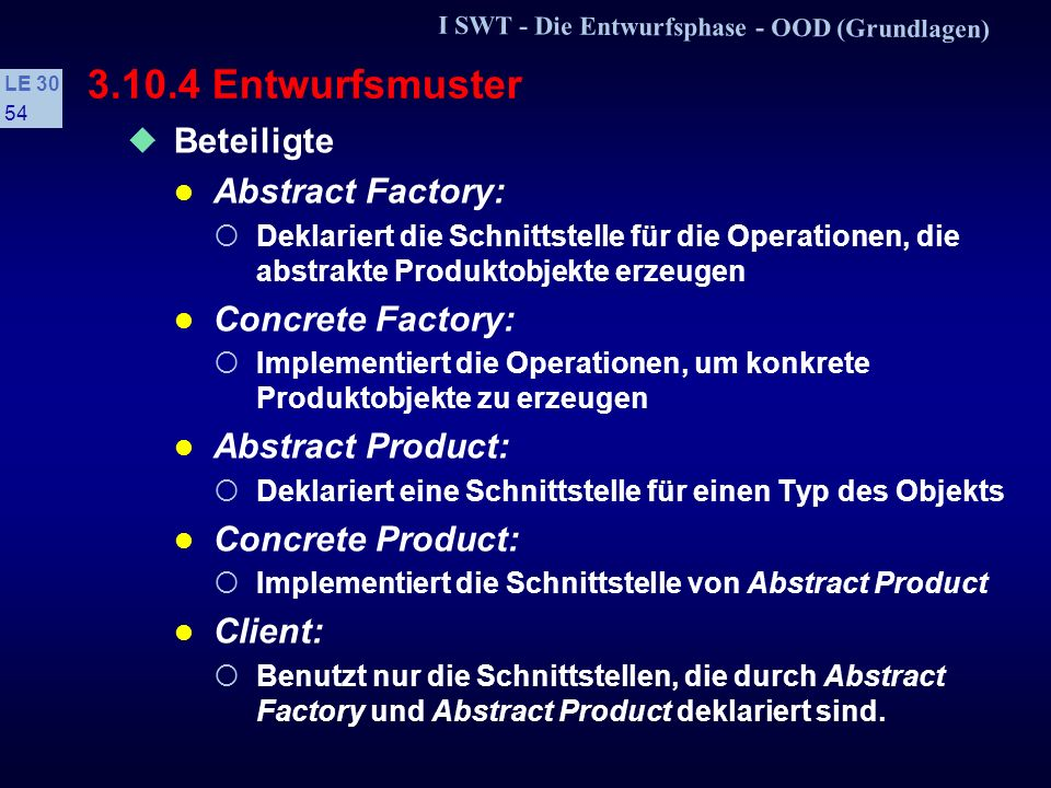 3.10.4 Entwurfsmuster Beteiligte Abstract Factory: Concrete Factory: