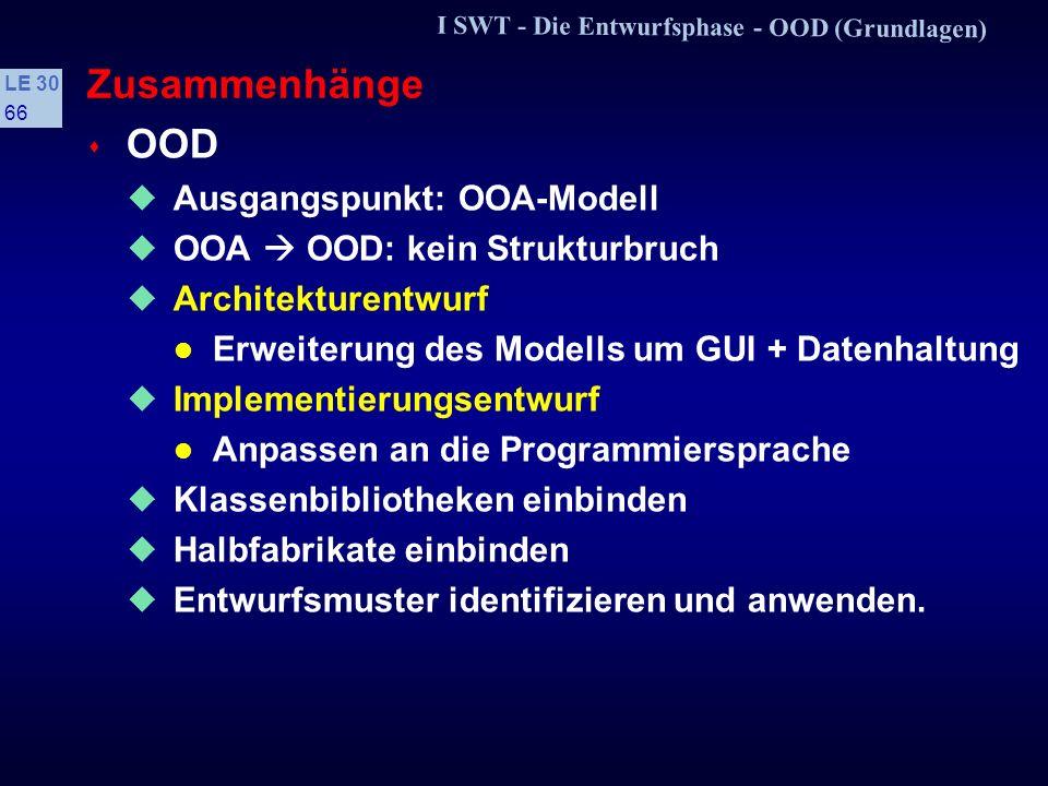 Zusammenhänge OOD Ausgangspunkt: OOA-Modell