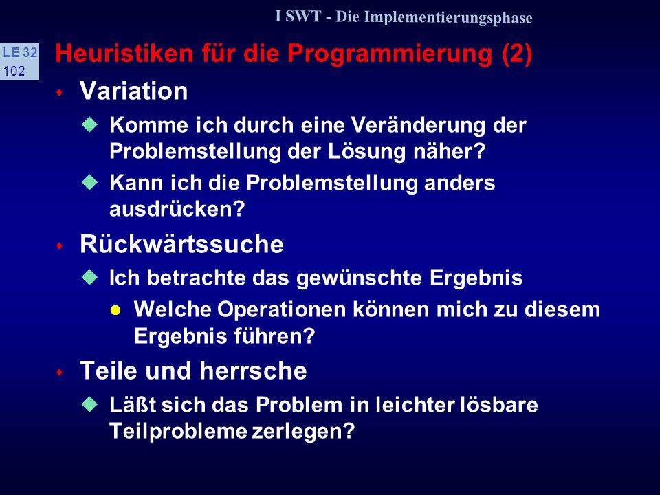 Heuristiken für die Programmierung (2)