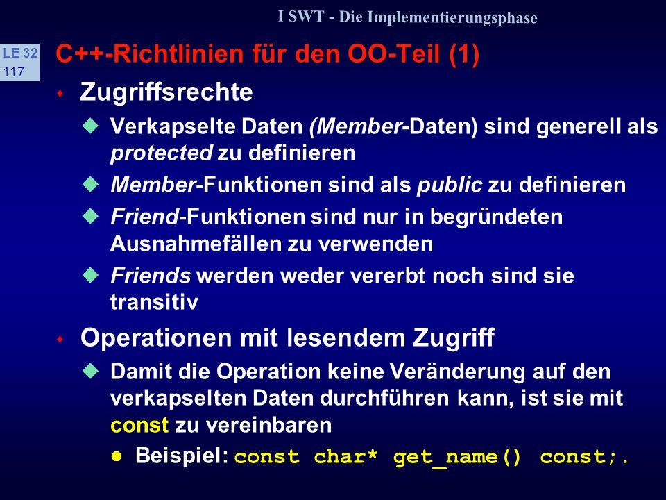 C++-Richtlinien für den OO-Teil (1)