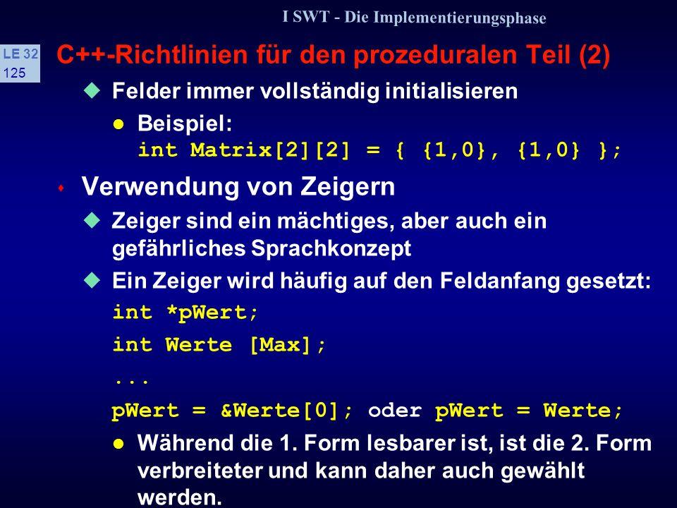 C++-Richtlinien für den prozeduralen Teil (2)
