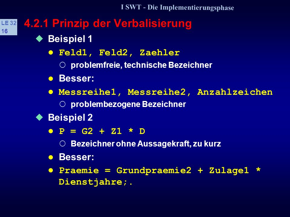 4.2.1 Prinzip der Verbalisierung