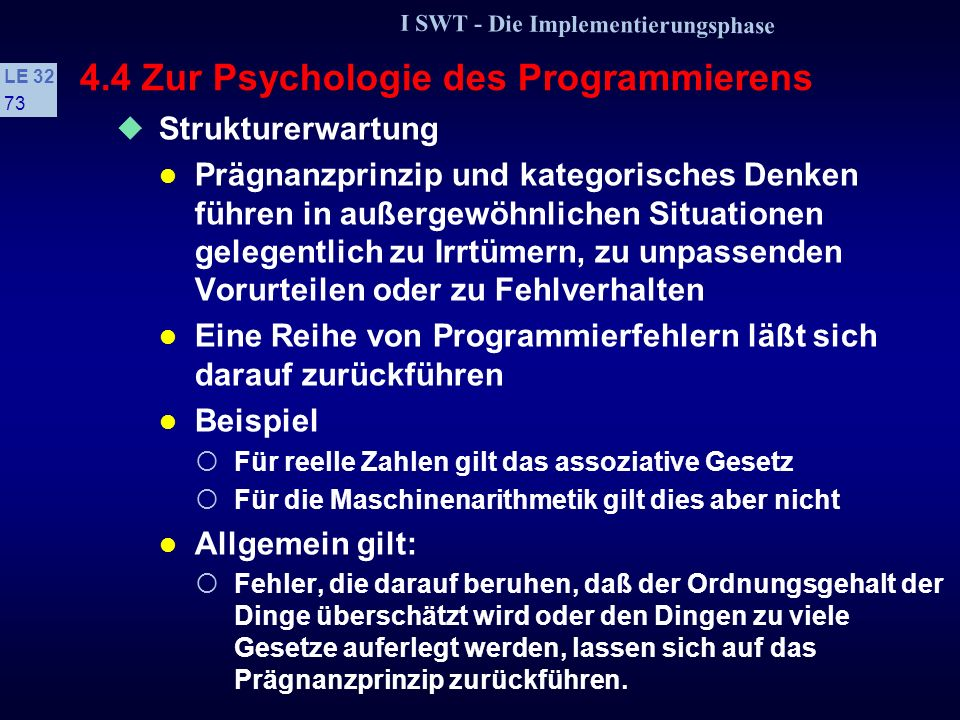 4.4 Zur Psychologie des Programmierens