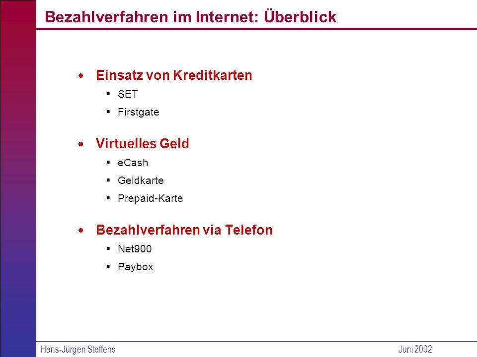 Bezahlverfahren im Internet: Überblick