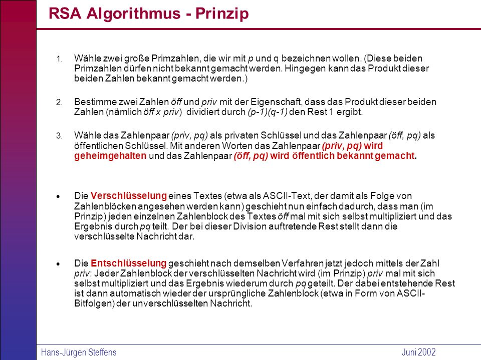 RSA Algorithmus - Prinzip