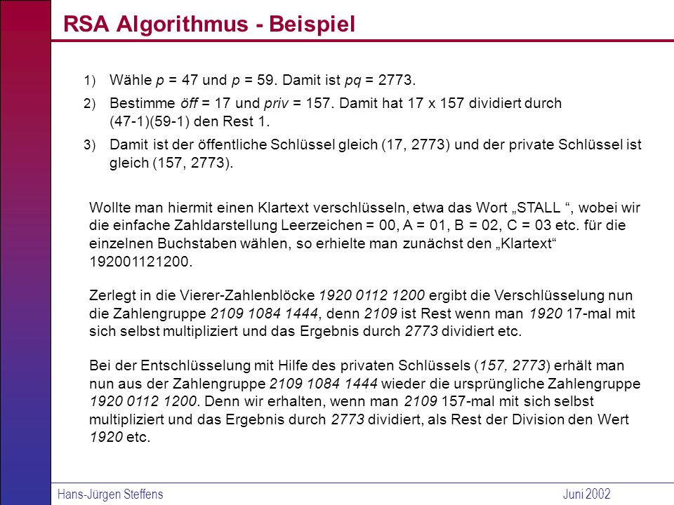 RSA Algorithmus - Beispiel