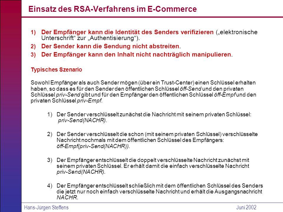 Einsatz des RSA-Verfahrens im E-Commerce