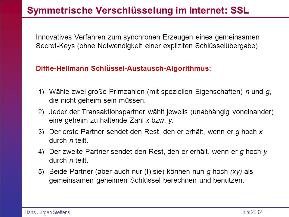 Symmetrische Verschlüsselung im Internet: SSL