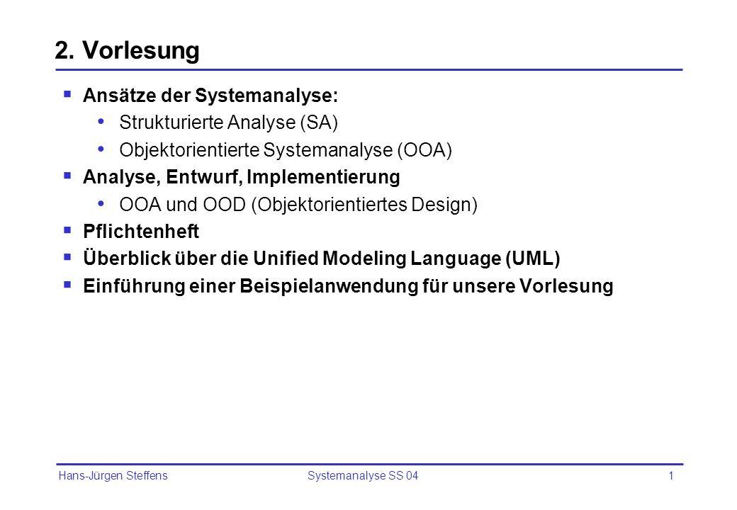 2. Vorlesung Ansätze der Systemanalyse: Strukturierte Analyse (SA)