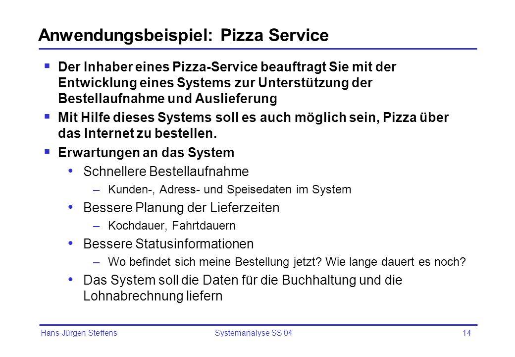 Anwendungsbeispiel: Pizza Service