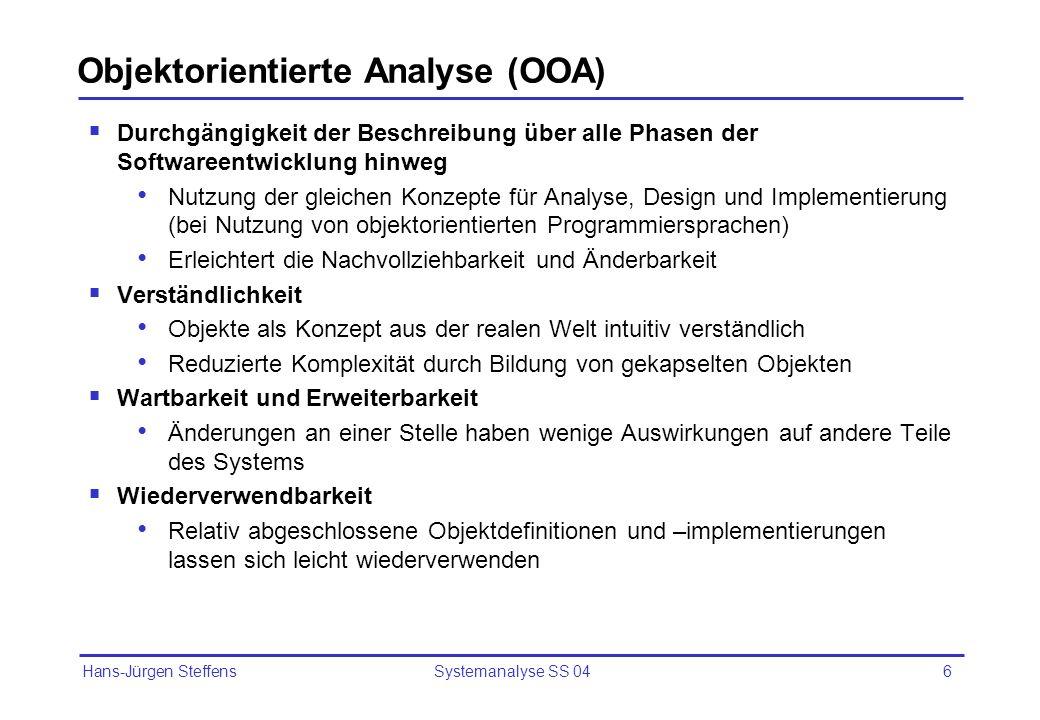 Objektorientierte Analyse (OOA)