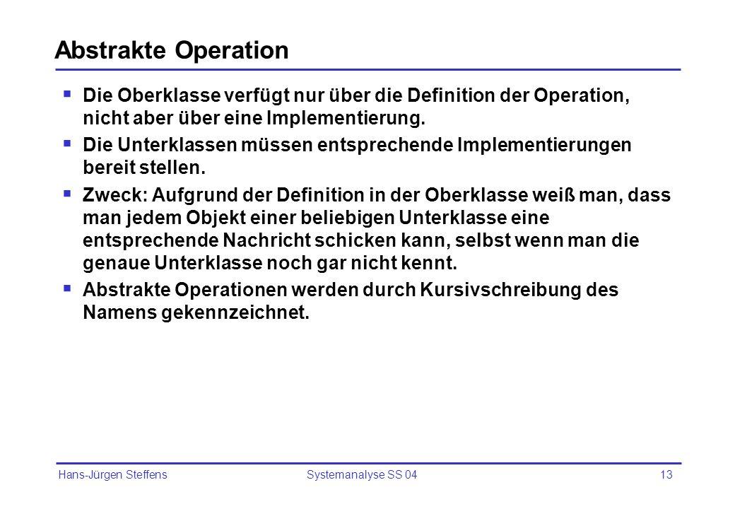 Abstrakte Operation Die Oberklasse verfügt nur über die Definition der Operation, nicht aber über eine Implementierung.
