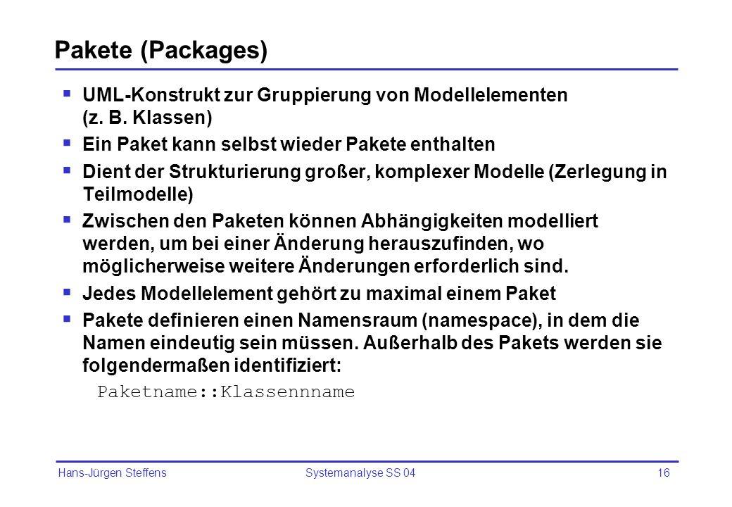 Pakete (Packages) UML-Konstrukt zur Gruppierung von Modellelementen (z. B. Klassen) Ein Paket kann selbst wieder Pakete enthalten.