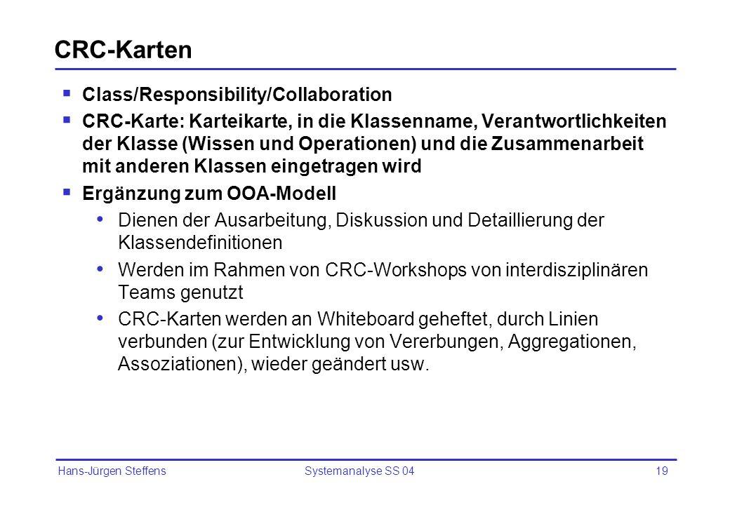 CRC-Karten Class/Responsibility/Collaboration