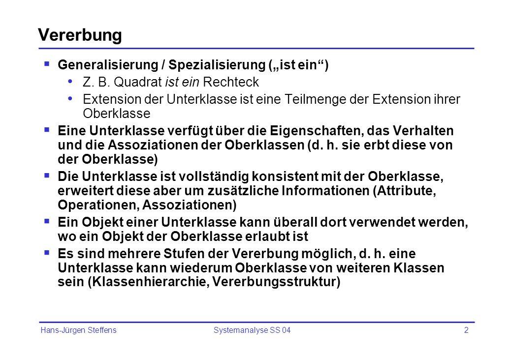 """Vererbung Generalisierung / Spezialisierung (""""ist ein )"""
