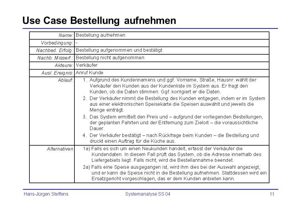 Use Case Bestellung aufnehmen