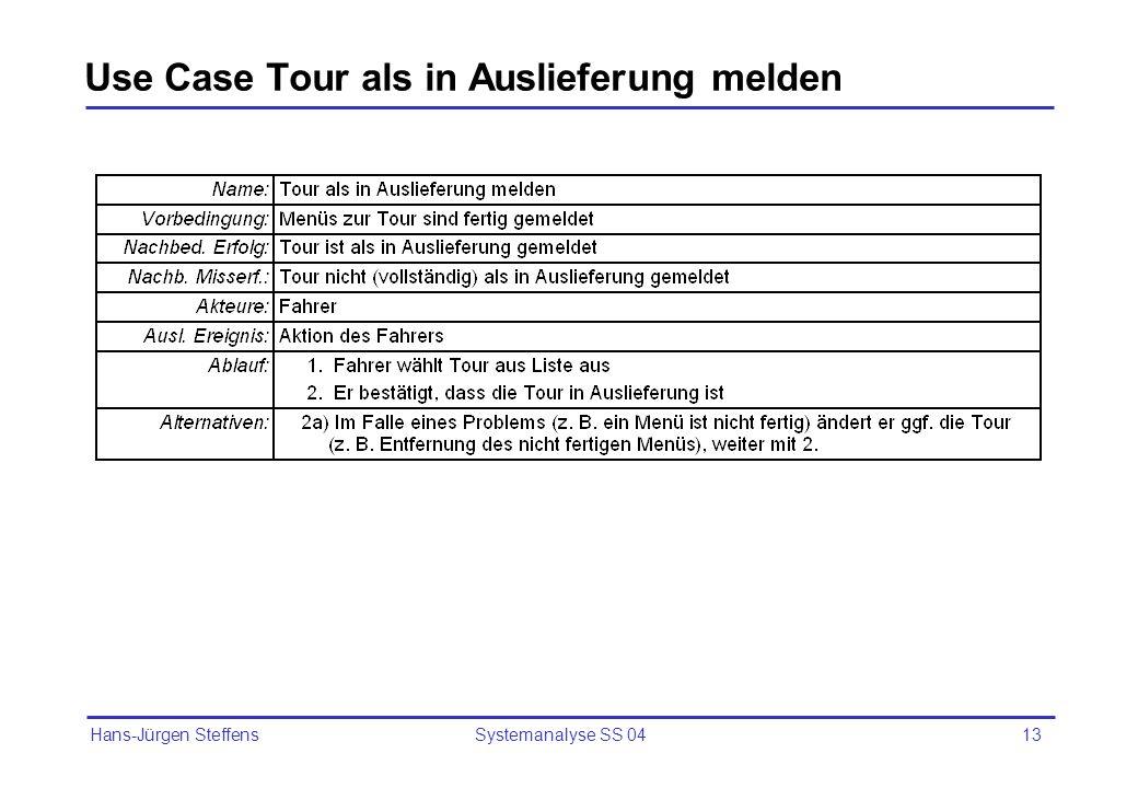 Use Case Tour als in Auslieferung melden