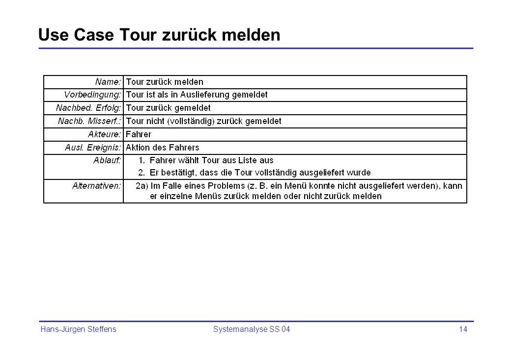 Use Case Tour zurück melden