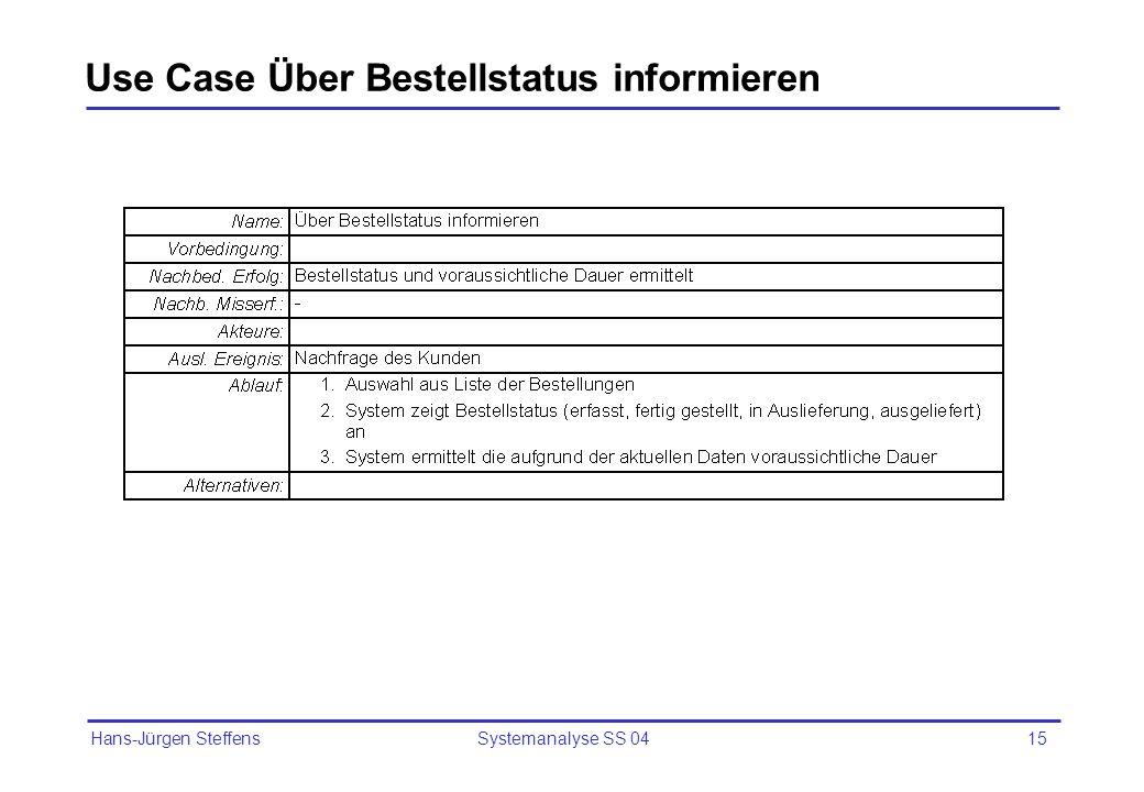 Use Case Über Bestellstatus informieren