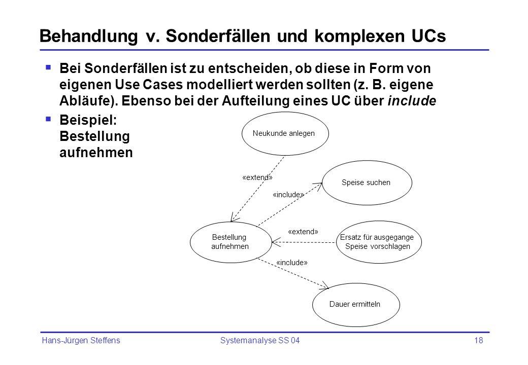 Behandlung v. Sonderfällen und komplexen UCs