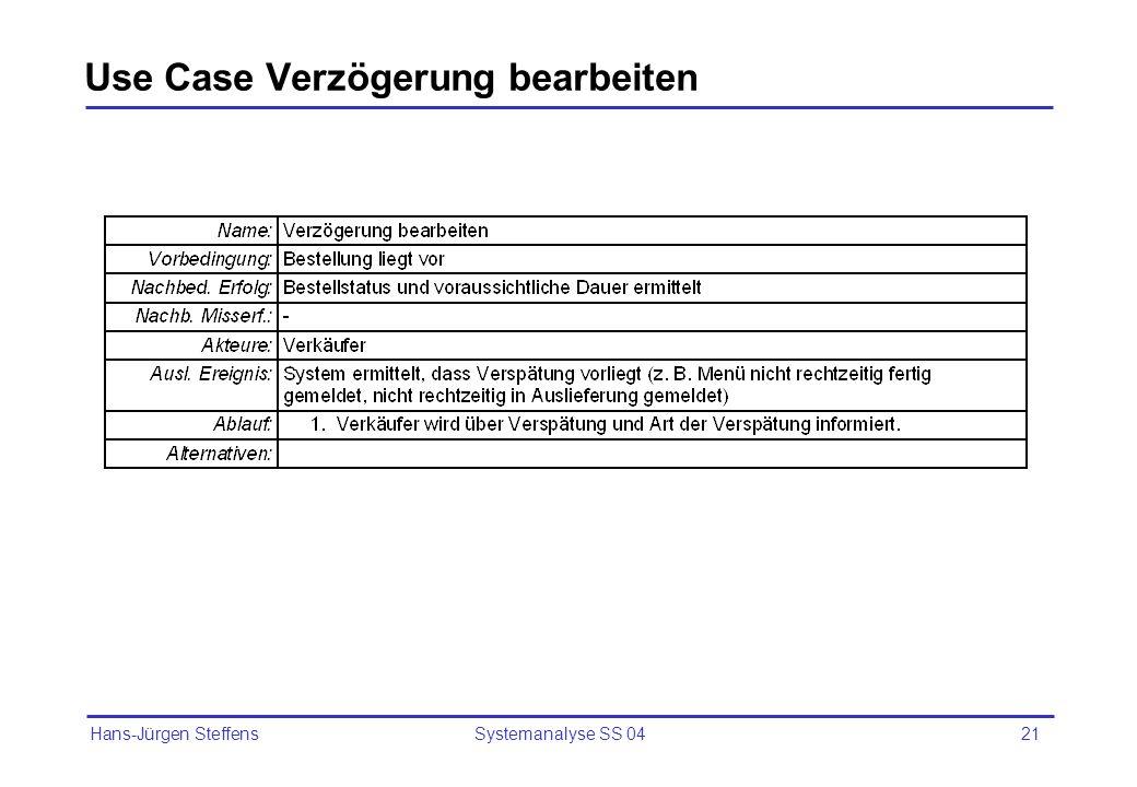 Use Case Verzögerung bearbeiten
