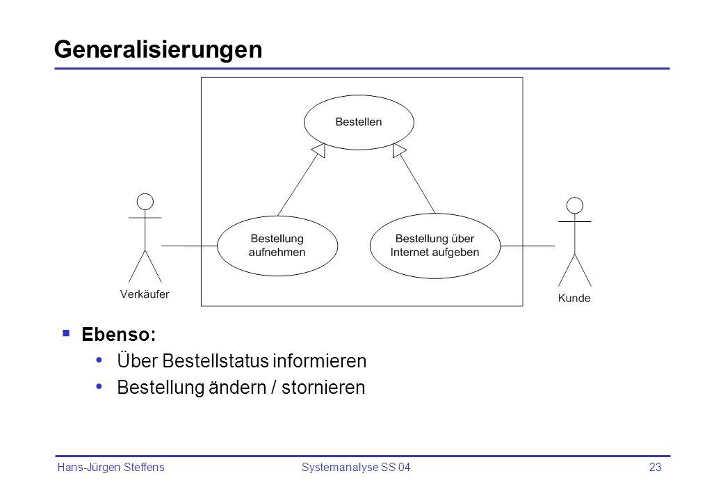 Generalisierungen Ebenso: Über Bestellstatus informieren
